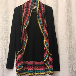 Black with rainbow detail cardigan. Size small